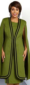 Ben Marc Executive 11848 Striped Accent Dress & Rounded Edge Duster Style Cape Jacket
