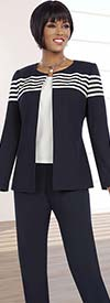 Ben Marc Executive 11580 Three Piece Womens Pant Suit With Striped Jacket