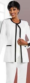 Ben Marc Executive 11655 Womens Pant Suit With Contrasting Trim Design