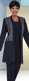 Ben Marc Executive 11656 Business Pant Suit With Diamond & Circle Pattern Jacket