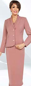 Ben Marc Executive 11710 Womens Business Skirt Suit With Ruffle Shawl Lapels & Trims
