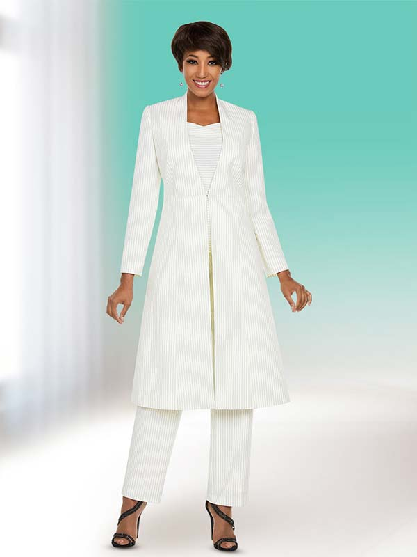Ben Marc Executive 11774 Micro Stripe Pant Suit With Long Jacket