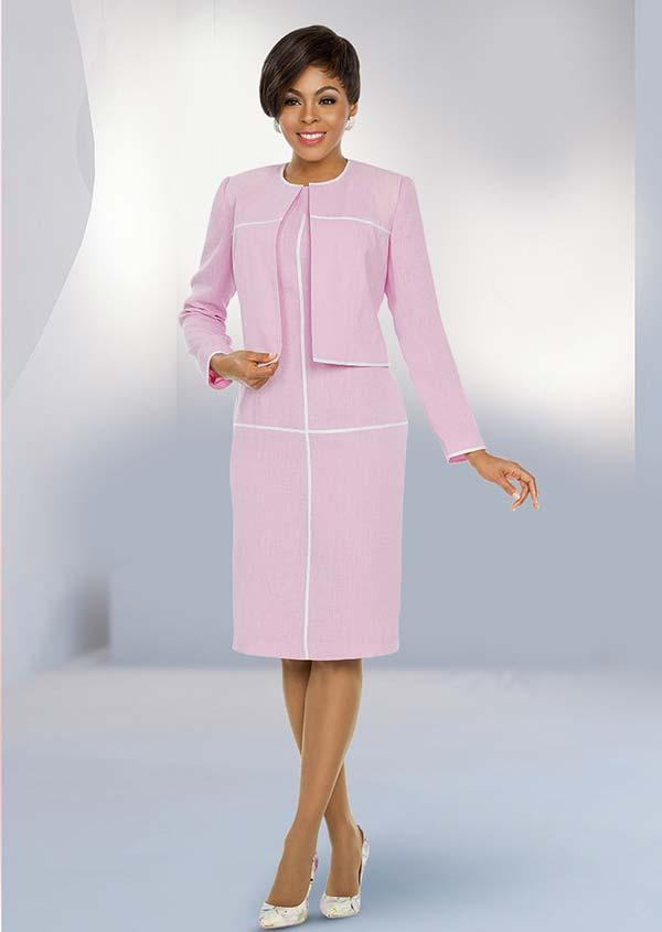 Ben Marc Executive 11794 Jewel Neckline Dress Set With Stripe Design