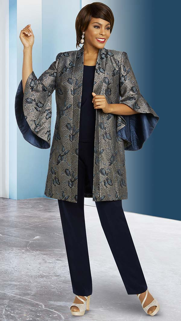 Ben Marc Executive 11840 Womens Pant Suit With Wide Bell Cuff Sleeve Jacket In Printed Design