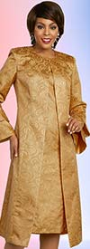 Ben Marc Executive 11847 Brocade Style Dress & Matching Duster Style Double Bell Cuff Jacket Set