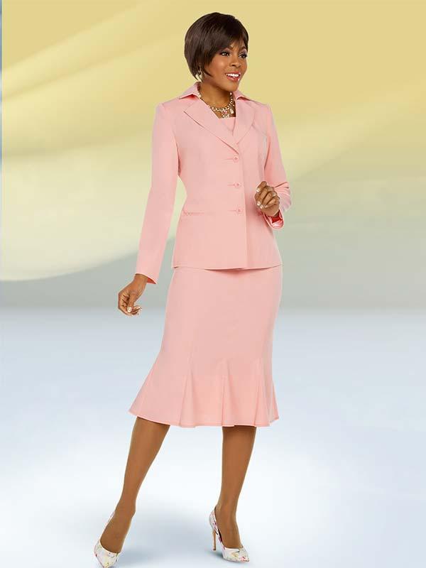 Ben Marc Executive 11758 Godet Skirt Suit With Deep Notch Lapels