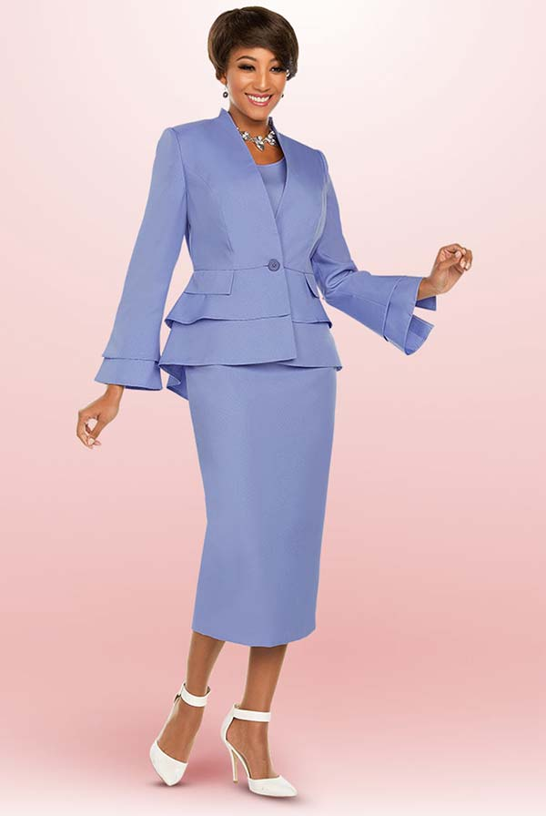 Ben Marc Executive 11762 Skirt Suit With Layered Peplum Jacket & Bell Sleeves