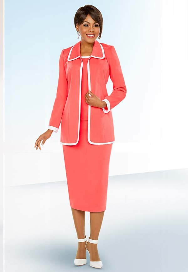 Ben Marc Executive 11764 Skirt Suit With Contrasting Trim Jacket