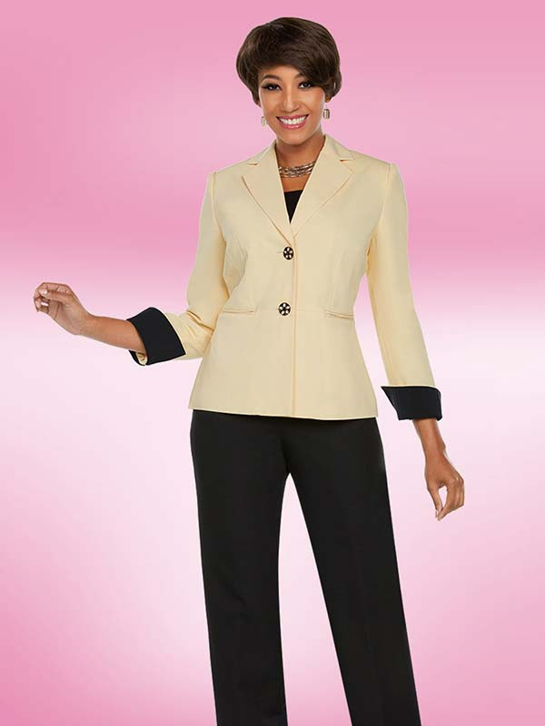 Ben Marc Executive 11768 Business Pant Suit With Notch Lapels & Rolled Cuffs