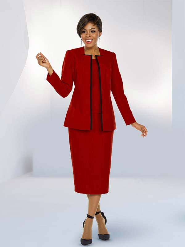 Ben Marc Executive 11784 Skirt Suit With Square Neckline Jacket In Black Pinstripe Detail Fabric