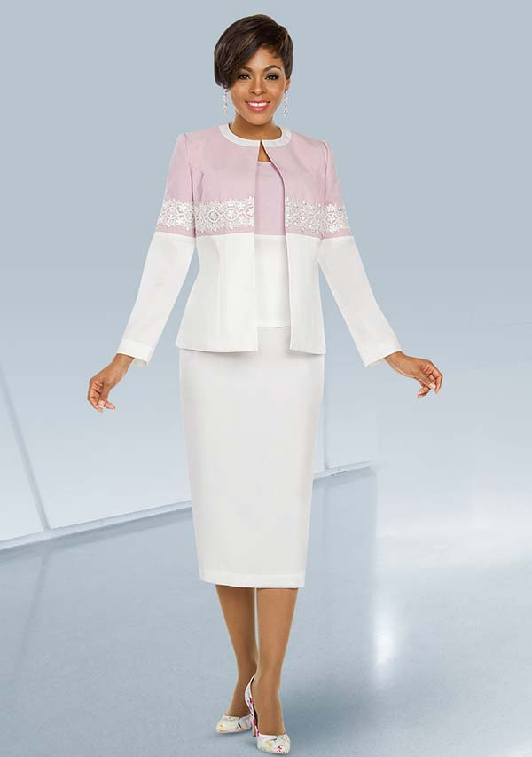 Ben Marc Executive 11787 Two Tone Skirt Suit With Jewel Neckline Lace Pattern Jacket