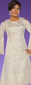 Ben Marc Executive 11790-Gold - Empire Dress With Cold Shoulder Accents & Angel Flounce Sleeves