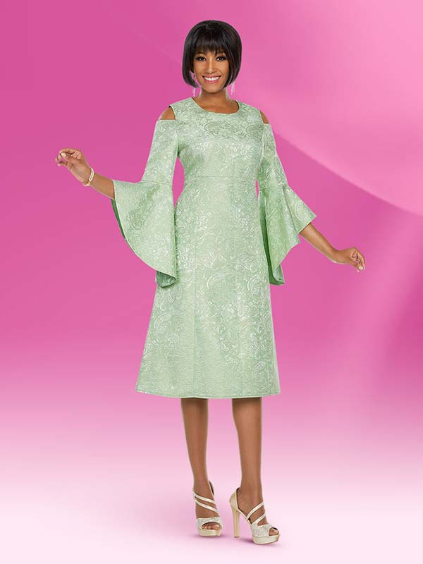 Ben Marc Executive 11790-Sage - Empire Dress With Cold Shoulder Accents & Angel Flounce Sleeves