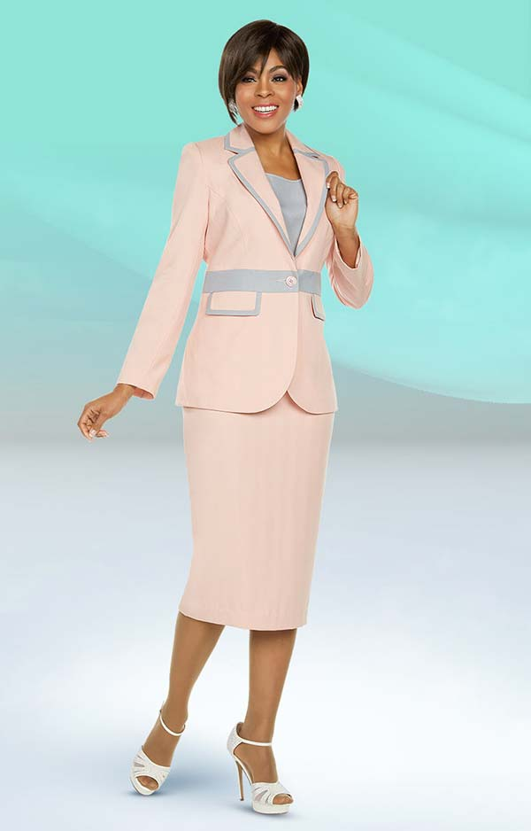 Ben Marc Executive 11798 Two Tone Skirt Suit With Notch Lapel Jacket