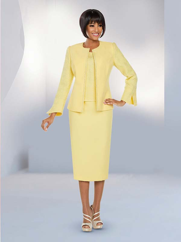 Ben Marc Executive 11799 Jewel Neckline Textured Accent Jacket And Skirt Suit
