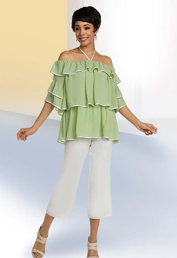 Ben Marc Casual Elegance 18398 Off Shoulder Multi Tier Ruffle Design Womens Pant Set