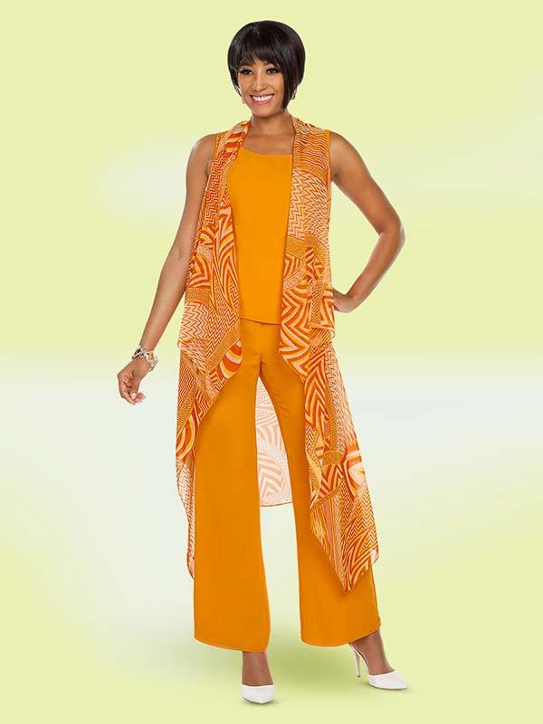 Ben Marc Casual Elegance 18399 Sleeveless Design Womens Pant Set With Long Vest