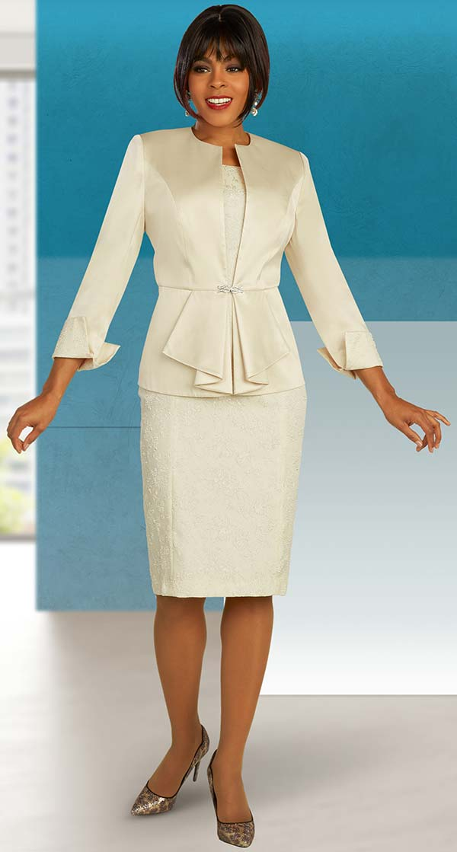 Ben Marc Executive 11850 - Textured Dress & Ruffle Detail Jacket Set With Folded Cuffs
