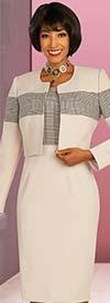 Ben Marc Executive 11856 - Sheath Dress & Bolereo Style Jacket Set With Plaid Pattern Accents