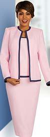 Ben Marc Executive 11857 - Womens Three Piece Career Skirt Suit With Navy Trim