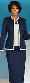 Ben Marc Executive 11858 - Womens Business Skirt Suit With Subtle Floral Pattern Design & Off-White Trim