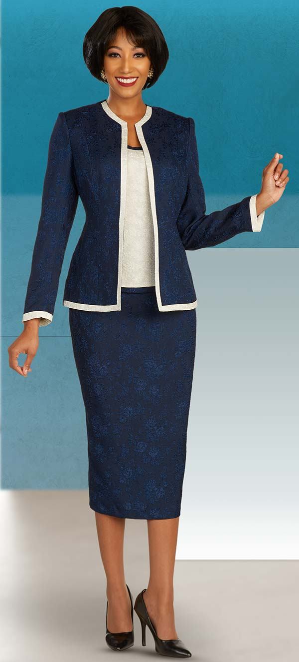 Ben Marc Executive 11858 - Womens Business Skirt Suit With Subtle Floral Pattern Design & Off-White Trim