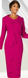 Ben Marc Executive 11859 - Petal Style Skirt Suit With Roll Collar Wrap Jacket
