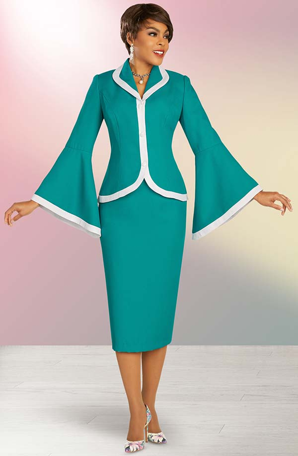 Ben Marc Executive 11860 - Skirt Suit With Wide Bell Cuff Sleeve Revers Collar Jacket
