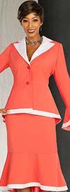 Ben Marc Executive 11862 - Womens Flounce Skirt Suit With Bell Cuff Sleeve Notch Lapel Jacket