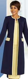 Ben Marc Executive 11864 - Womens Two Tone Business Suit With Duster Style Jacket