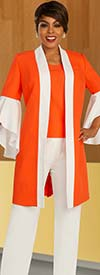 Ben Marc Executive 11871 - Two Tone Womens Flounce Sleeve Jacket And Pant Suit
