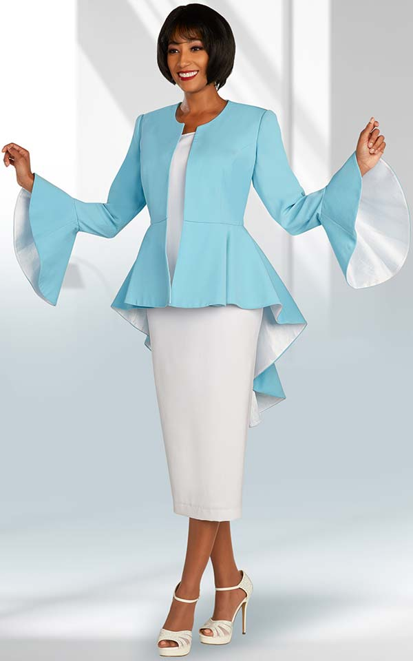 Ben Marc Executive 11874 - Three Piece Skirt Suit With Extended Peplum Jacket And Large Bell Cuffs