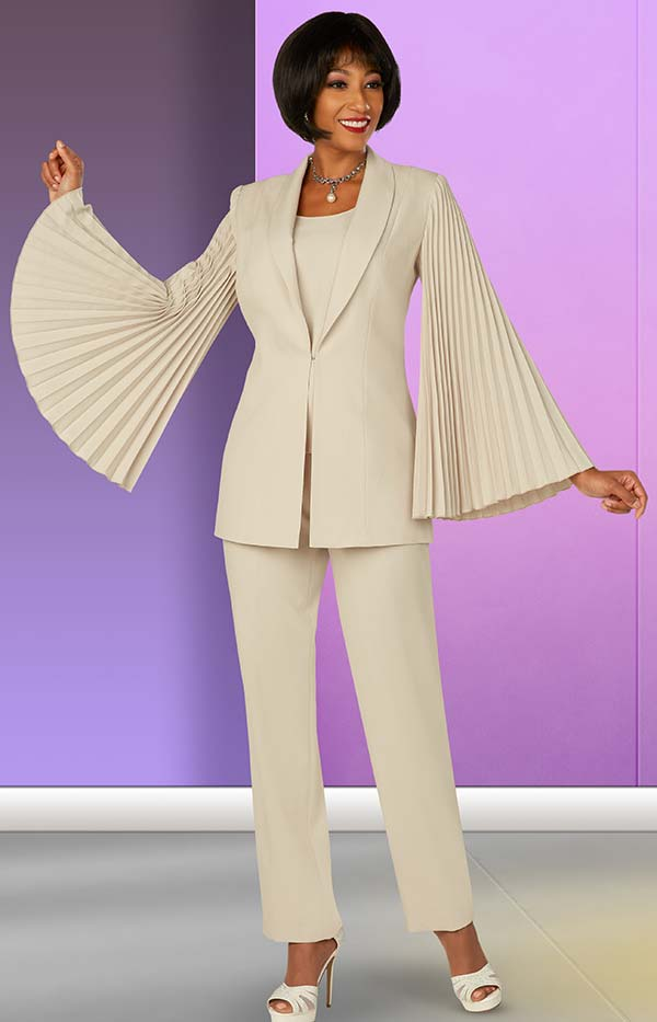 Ben Marc Executive 11875 - Three Piece Pant Suit With Accordion Pleated Sleeve Shawl Lapel Jacket