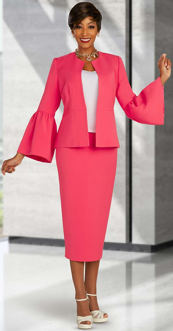 Ben Marc Executive 11879 - Three Piece Business Skirt Suit With Flounce Sleeve Jacket
