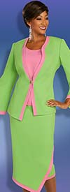 Ben Marc Executive 11882 - Two Tone Asymmetric Style Bell Sleeve Jacket & Skirt Suit