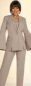 Ben Marc Executive 11884 - Womens Career Pant Suit With Peak Lapel Split Flounce Cuff Sleeve Jacket