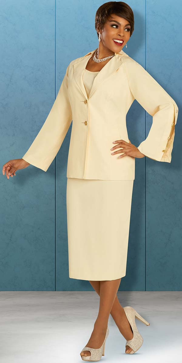 Ben Marc Executive 11885 - Business Skirt Suit With Notch Lapel Split Buttoned Cuff Sleeve Jacket