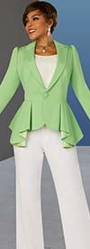Ben Marc Executive 11889 - Womens Pant Suit With Peak Lapel Peplum Accent Jacket