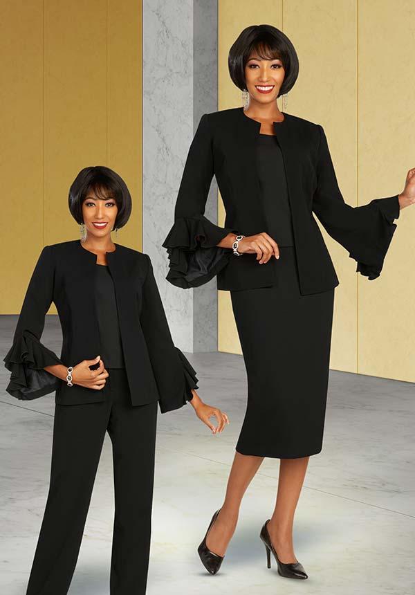 Ben Marc Executive 11890 - Womens Weekender Wardrobe Suit Set With Ruffle Flounce Cuff Sleeve Jacket