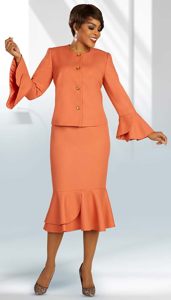 Ben Marc Executive 11892 - Jewel Neckline Suit With Flounce Detail Sleeve Cuffs And Matching Skirt