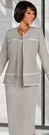 Ben Marc Executive 11894 - Womens Three Piece Corporate Business Skirt Suit With White Trim