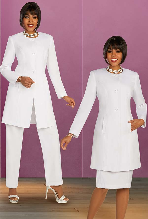 Ben Marc Executive 11896 - Womens Business Wardrober Set With Skirt And Pants Featuring Long Jewel Neckline Jacket