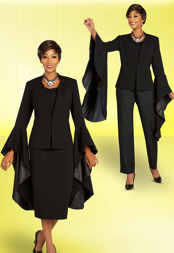 Ben Marc Executive 11898-Black - Womens Weekender Wardrobe Suit Set With Extended Angel Wing Sleeve Cuffs
