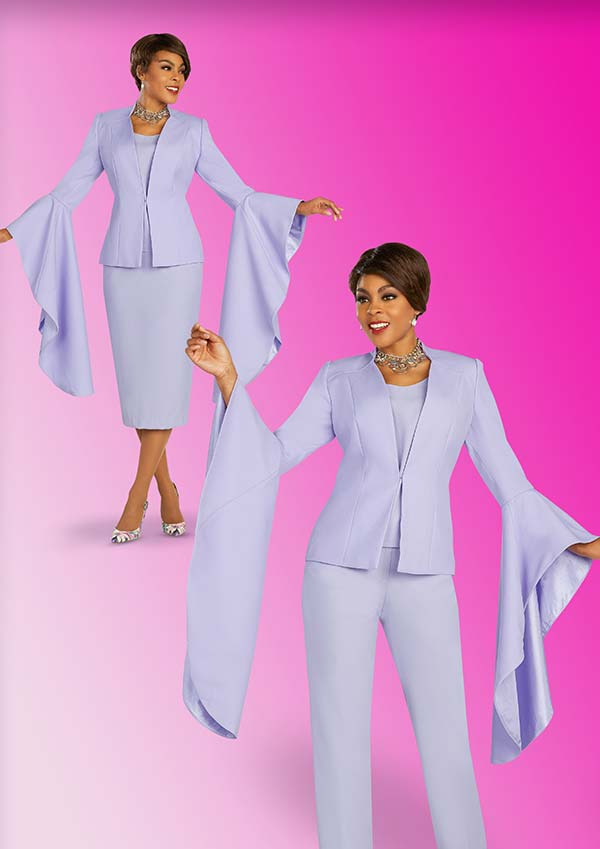 Ben Marc Executive 11898-Lilac - Womens Weekender Wardrobe Suit Set With Extended Angel Wing Sleeve Cuffs