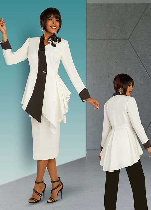 Ben Marc Executive 11899 - Womens Business Wardrober Set With Skirt And Pants Featuring Two Tone Peplum Jacket