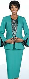 Ben Marc Executive 11901 Womens Weekender Suit Set Designed In Animal Print With Skirt And Flared Pants
