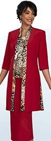 Ben Marc Executive 11902 Womens Skirt Suit Featuring Animal Print Cami And Long Jacket Trim