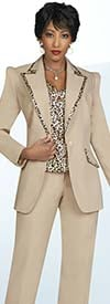 Ben Marc Executive 11903 Womens Pant Suit Featuring Animal Print Cami And Trimmed Wide Notch Lapel Jacket