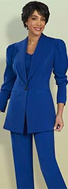 Ben Marc Executive 11907 Womens Pant Suit With Puff Sleeve Jacket