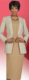 Ben Marc Executive 11911 Womens Skirt Suit With Button Adorned Collarless Jacket